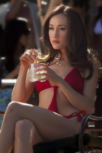 Maggie Q Sexy Red Swimsuit Nikita Still